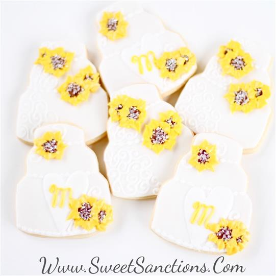 Sunflower Wedding Cake Cookies