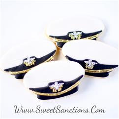 navy officer cover (Hat) cookies