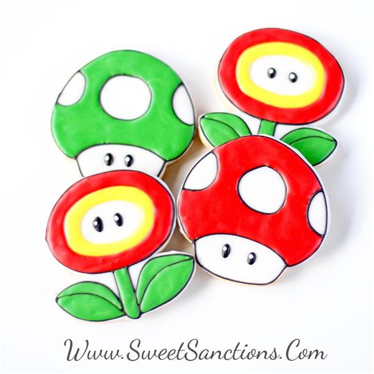 Mario Mushroom and Flower Cookie Set