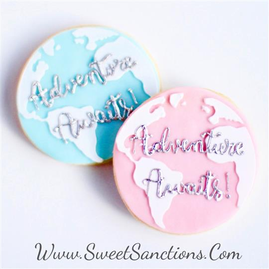 "2 cookies decorated as earth, with ""adventure awaits"" written in frosting"