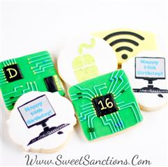 assortment of 6 cookies with computer designs on them. Wifi, 2 computers painted, and a SD Chip.