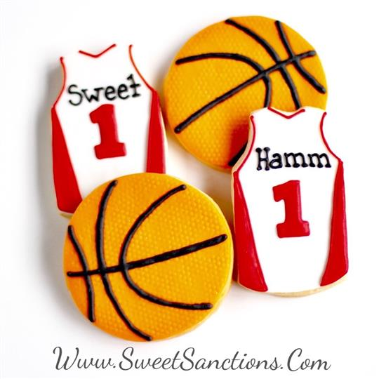 Basketball Cookie Set with Basketball Jersies