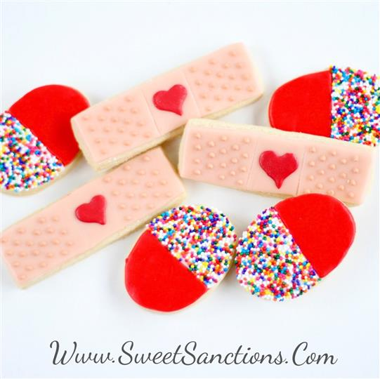 Bandaid and Pill Cookie Set