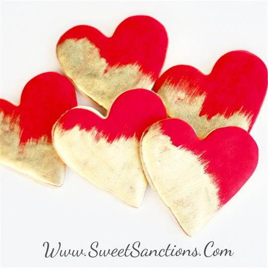 Red and Gold Heart Cookies
