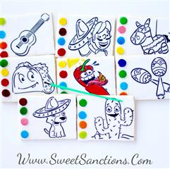 8 square cookies with black tracing of a guitar, person with a sombrero, a pinata, a taco, a chili pepper, a pair of maracas, a god with a sombrero, and a cactus. 4 colors on the side of each for painting.