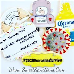"assortment of cookies. once shaped as a corona beer bottle, one shaped as the back of a car with a middle finger out the back window, another shaped an dpainted as a germ, one that says ""#2020QuarantineSurvivor"", another that says ""Jan 1st: ""This is my year!"", March 18th ""wiping my ass with a coffee filter."", TBD: ""Free at Last"", and one shaped as a broken fortune cookie with ""Happy Ending!"" written in it."