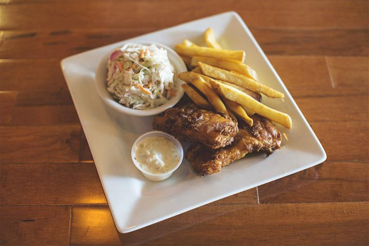 wings, fries, coleslaw, and dipping sauce