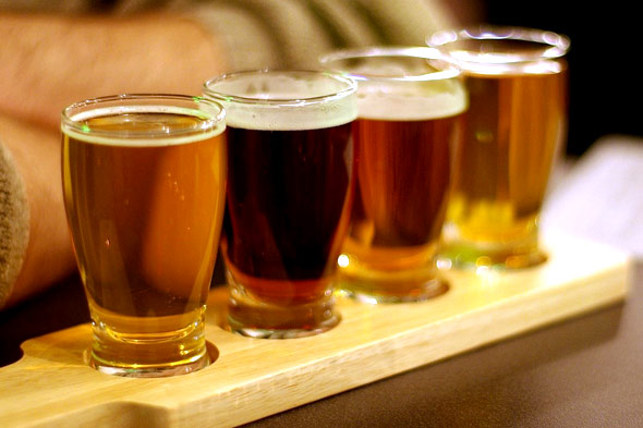 a flight of four beers