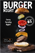 Every Tuesday! $5 burgers!