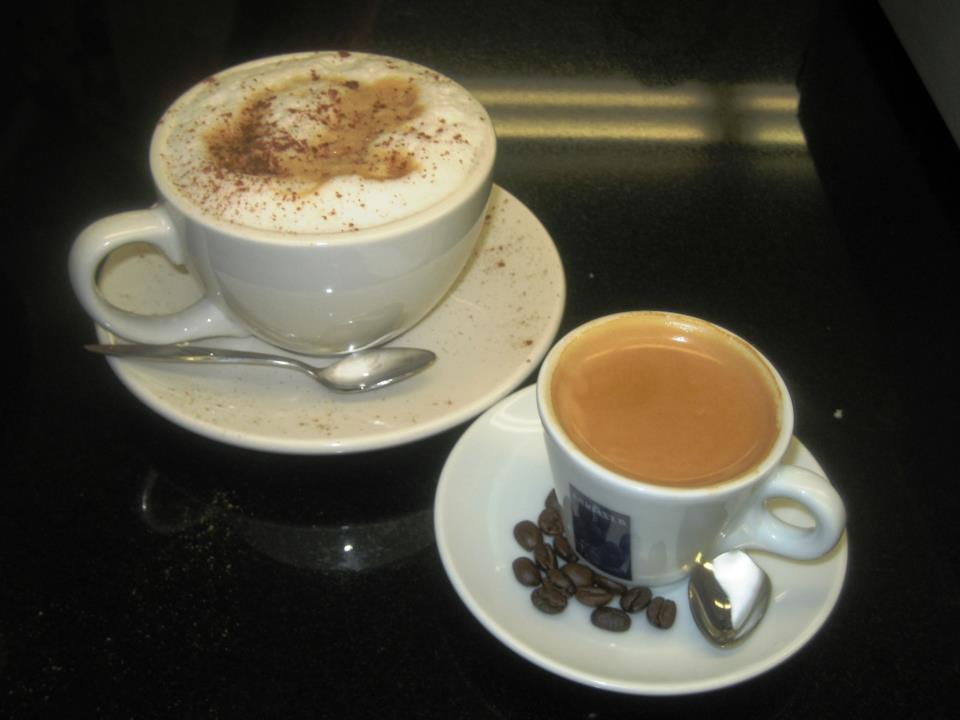 cup of cappuccino with and cup of espresso