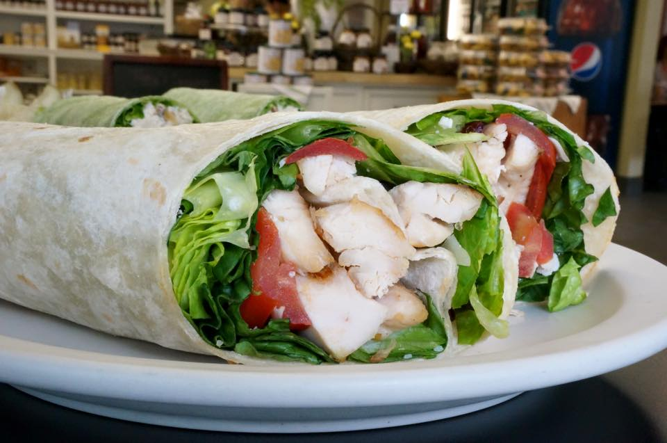 wrap with chicken, tomato and lettuce
