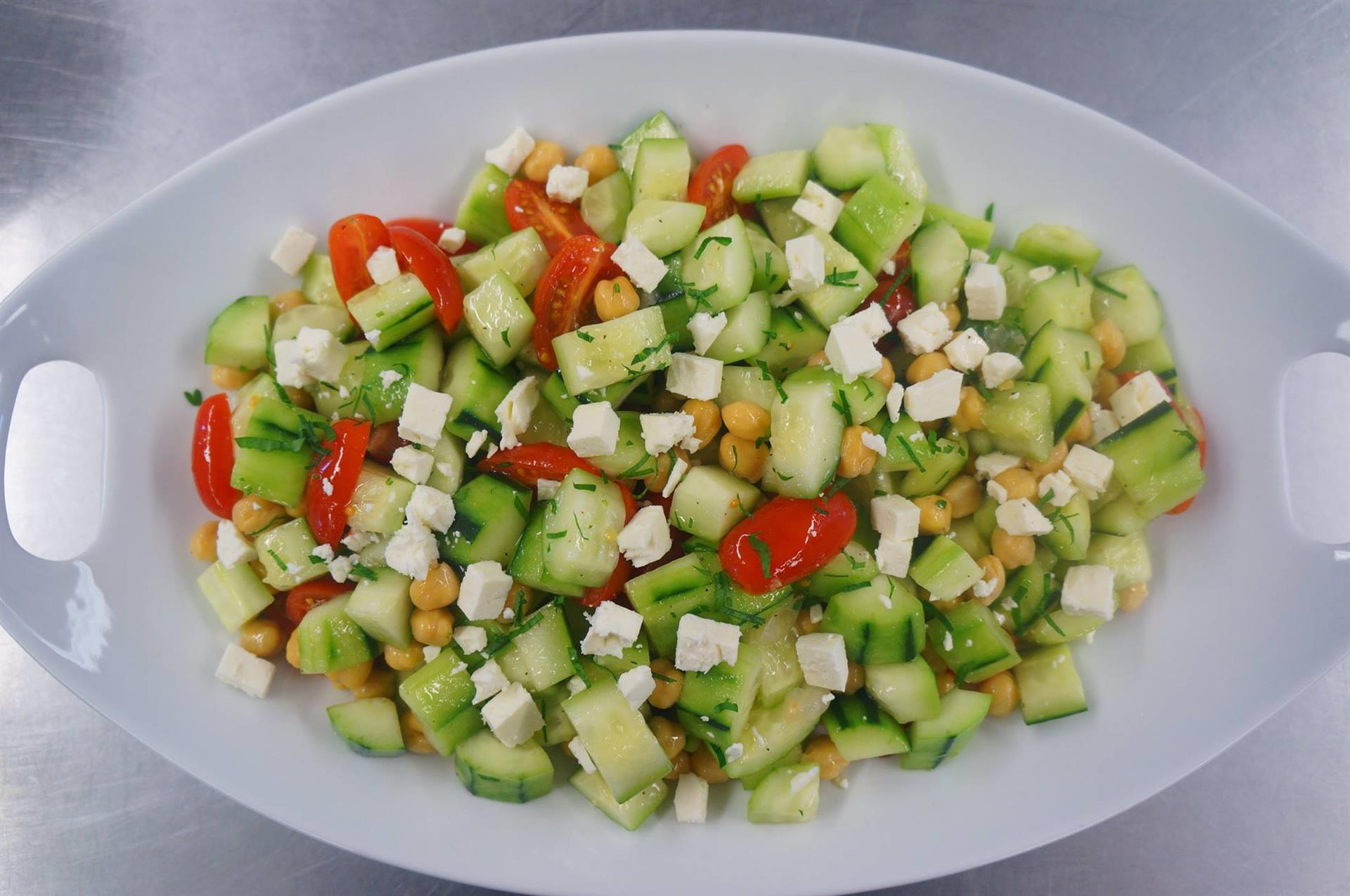 cucumber, tomato, chickpeas, and feta cheese salad