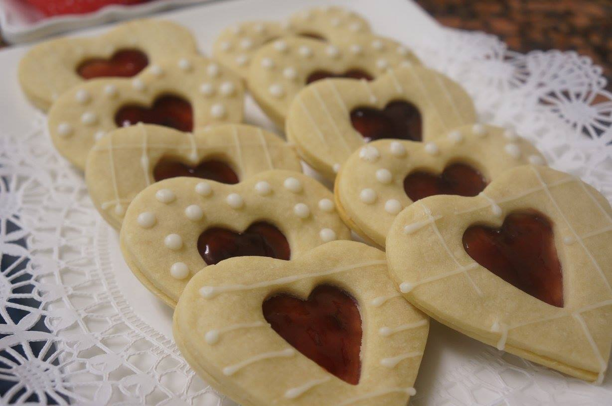 tray of cookies shaped like a heart