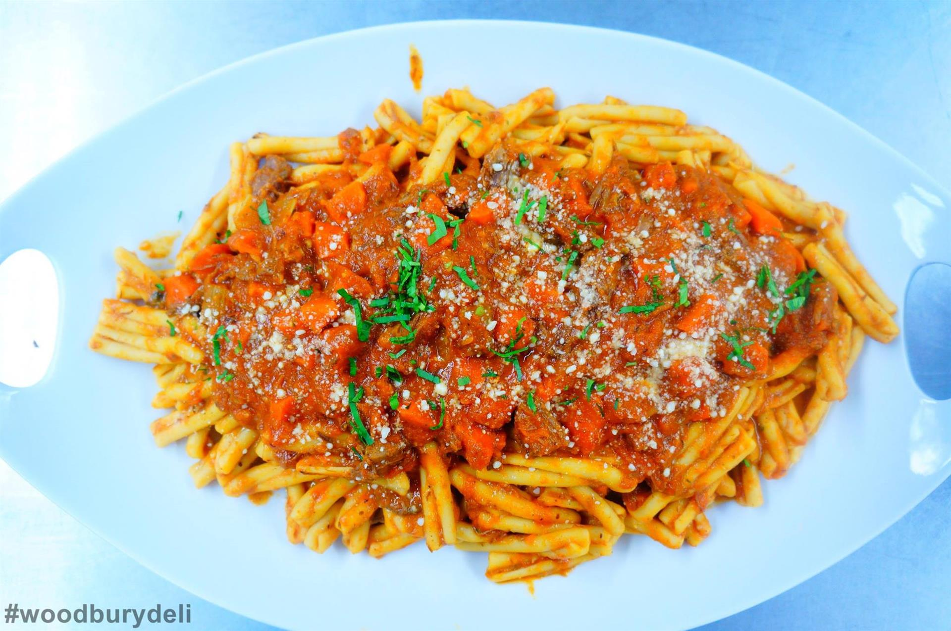 cavatelli pasta with meat sauce