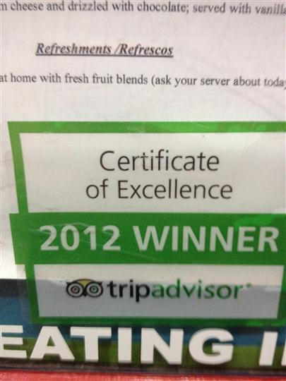certificate of excellence 2012 winner tripadvisor
