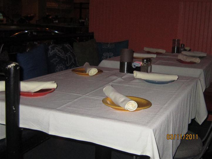table with plates and silverware