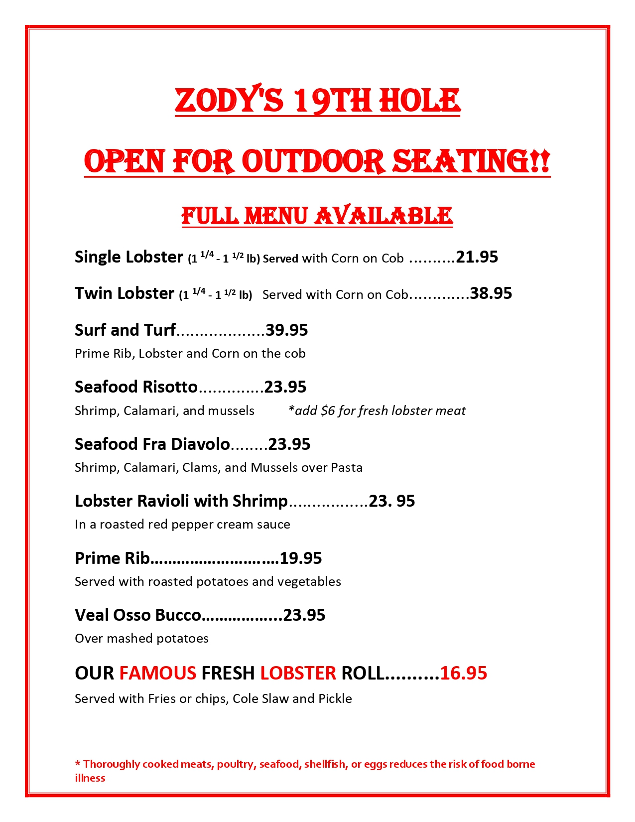 Lobsyer special menu, readable pdf above