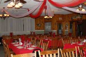 Dining area with ribbons for a event