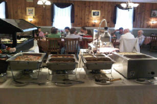 Catering table with multiple different foods