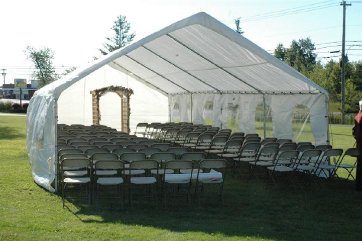 Wedding tent with chairs set up