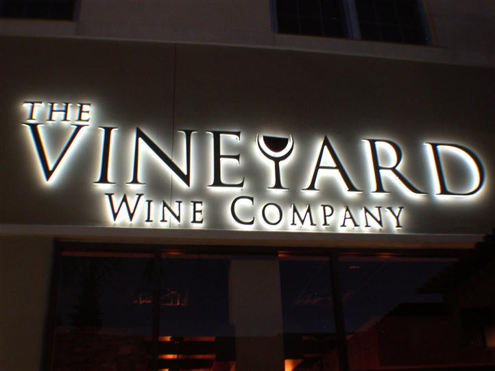 The Vineyard Wine Company sign outdoor at front entrance
