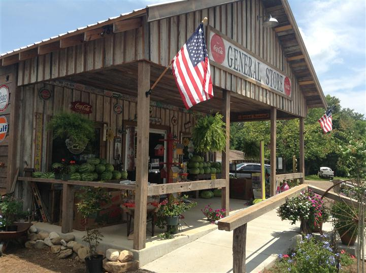 General Store front entrance with American flag