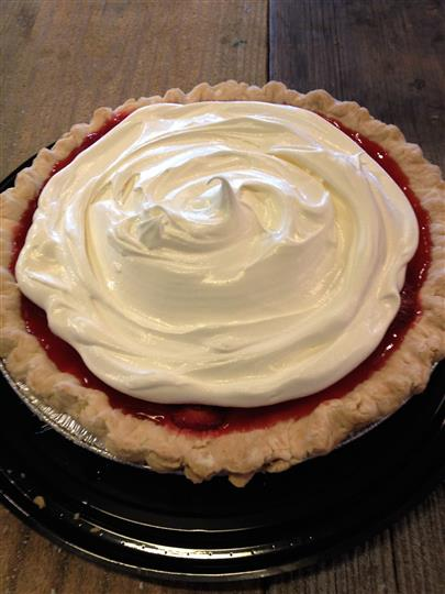 Pie with jam and icing on top