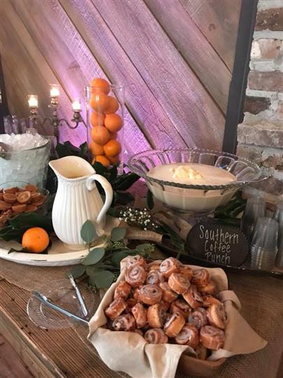 Southern coffee punch with cinnamon rolls and oranges