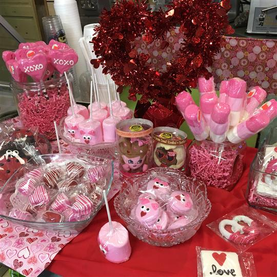 Valentines day themed treats and decorations