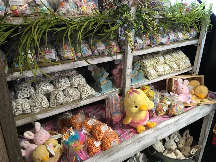 Easter theme assorted treats, Plush dolls, and decorations
