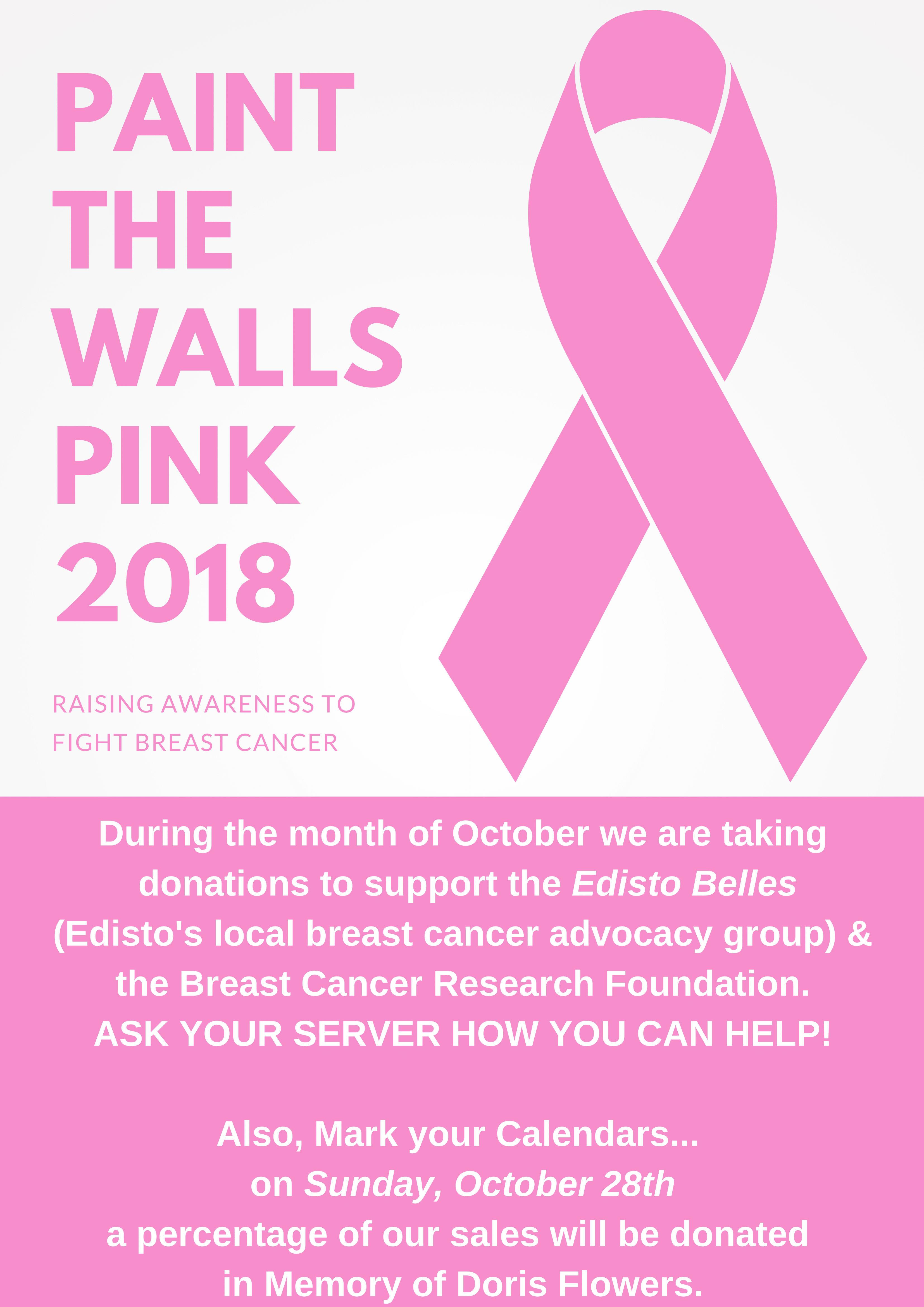 Paint The Walls Pink 2018 Breast Cancer Awareness Poster
