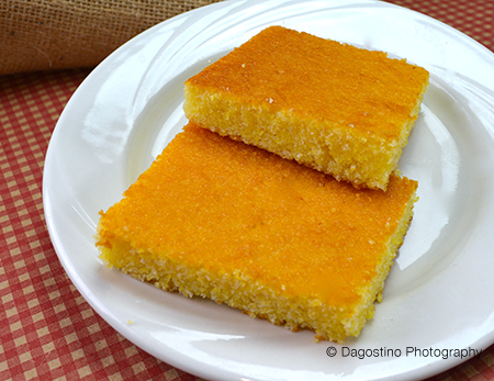 A plate of corn bread