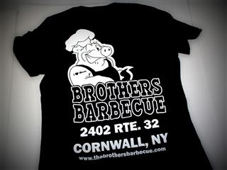 t shirt that reads brothers barbecue 2402 rte. 32 corneall, ny www. thebrothersbarbecue.com