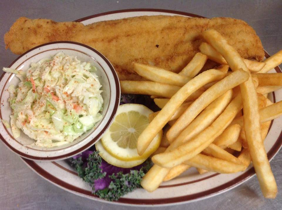 Fried haddock served with fries and cole slaw