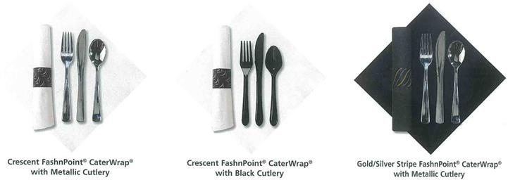 Crescent FashnPoint CaterWrap with metallic cutlery. Crescent FashnPoint CaterWrap with black cutlery. Gold/Silver Stripe FashnPoint CaterWrap with metallic cutlery