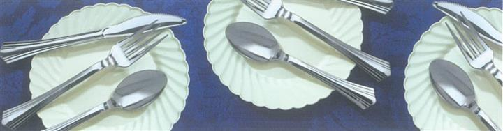 Three sets of sorted cutlery on white plates on blue tablecloth