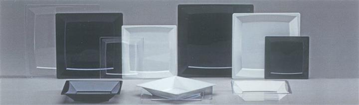 Sets of clear, black, and white square plates