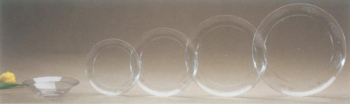 Clear bowl with different sized clear plates
