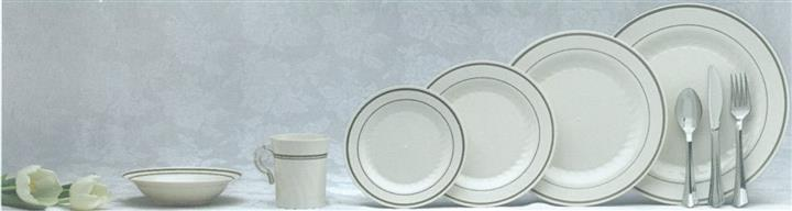 Masterpiece upscale dinnerware bowl, mug and assorted plate sizes in white