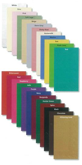 Dinner napkin swatches of assorted colors.
