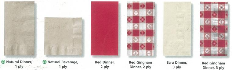 Natural dinner 1 ply. Natural beverage 1 ply. red dinner 2 ply. Red Gingham Dinner 2 ply. Ecr Dinner 3 ply. Red Gingham Dinner 3 ply.