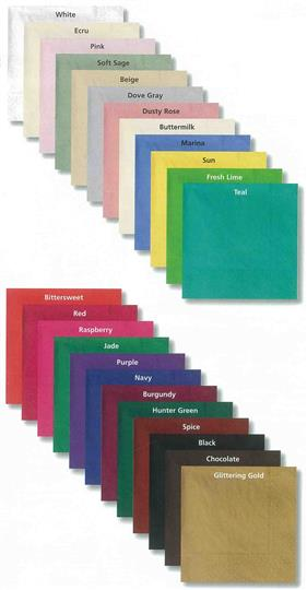 Beverage napkins.  Assorted color swatches.