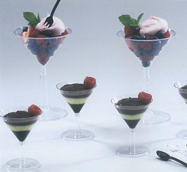 Petite's Martini stemware with pudding and berry desserts