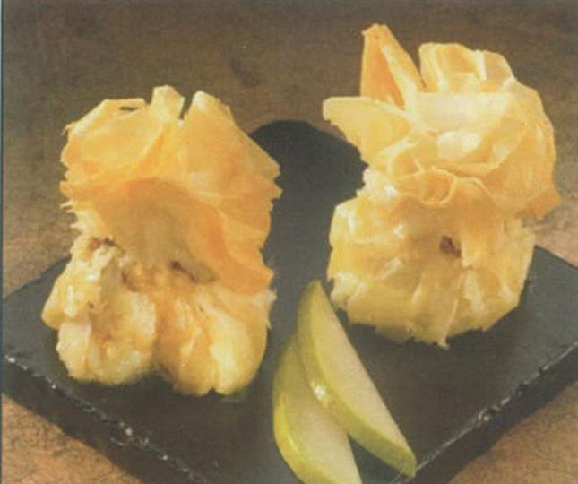 Brie and pear filo purse on black slab