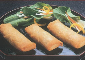 Vegetable Spring Rolls on black tray