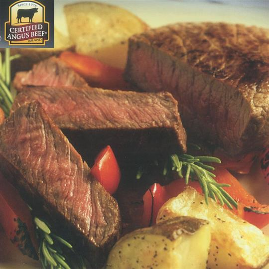 Certified angus beef cuts and potatoes. Certified angus beef brand since 1978