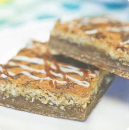 Macaroon Madness Bars with caramel drizzle