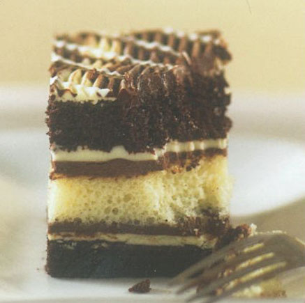 Layer cake with fork