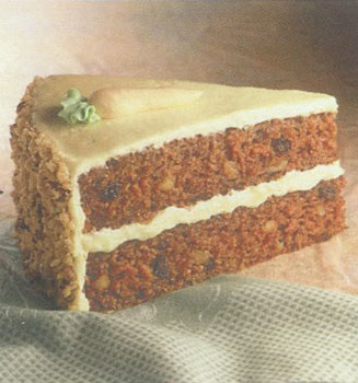 Carrot cake slice on marble table