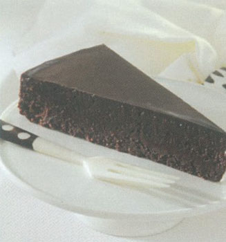Slice of chocolate torte with fork on white dish